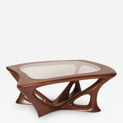Amorph Ariella Coffee Table Solid Wood Walnut Stained with Glass Top