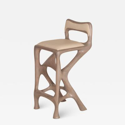 Amorph Chimera Barstool With Back Gray Oak Finish