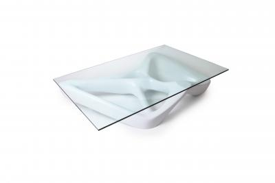 Amorph Contemporary Coffee Table Lacquer Finish with Glass Top Unique Shaped