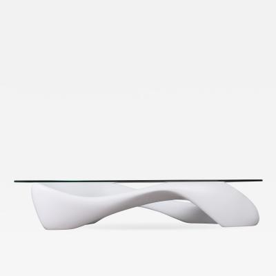 Amorph Contemporary Coffee Table White Lacquered Finish