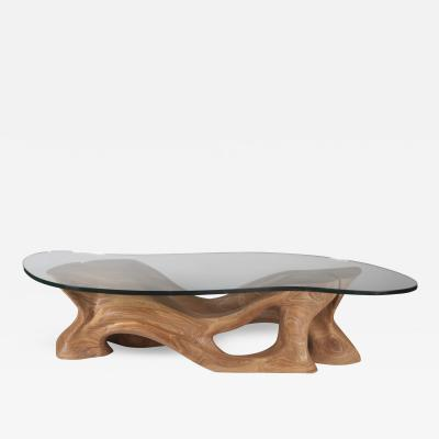 Amorph Futuristic Modern Sclupture Wooden Coffee Table Organic Shape Glass