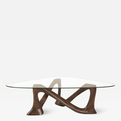 Amorph Hermosa Coffee Table in Solid Wood and Graphite Walnut Stain and Glass Top