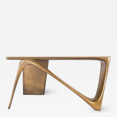 Amorph L Shape Contemporary Desk with Gold Finish by Amorph