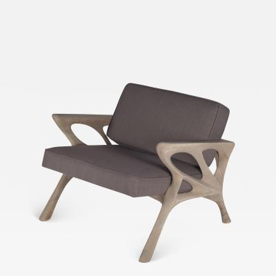Amorph Modern Armchair Ash Wood Dark Grey Fabric Weather Gray Stained
