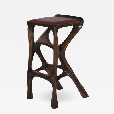 Amorph Modern Barstool Solid Wood with Leather and Stained Rusted Walnut