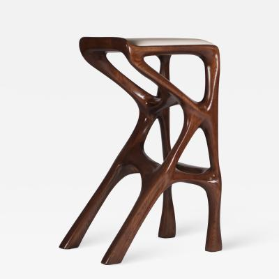 Amorph Modern Barstool Solid Wood with White Leather and Stained Walnut