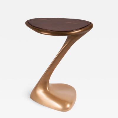 Amorph Palam Side Table Gold Finish and high Glossy Walnut