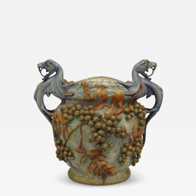 Amphora Austrian Monumental Blue Green Amphora Jardiniere