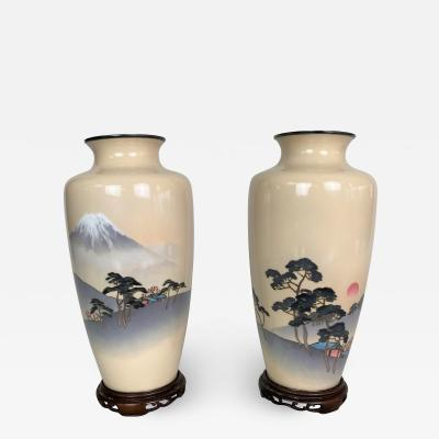 Ando A fine pair of Cloisonne vases depicting Mount Fuji and the rising Sun