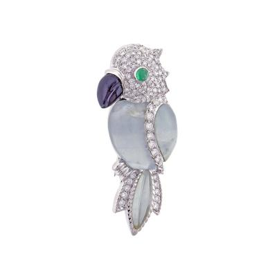 Andreoli Andreoli Aquamarine and Diamond Parrot Brooch