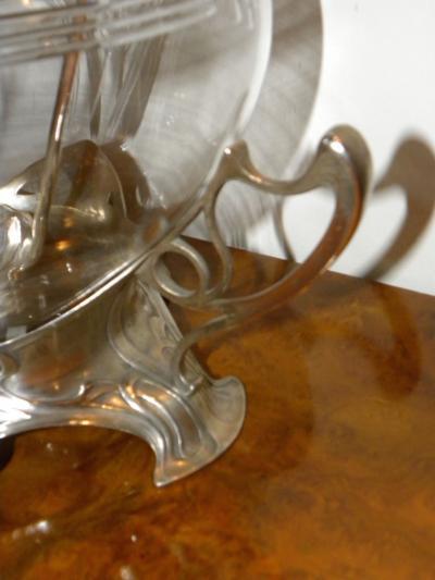 Anezin Hnos Cia Art Nouveau WMF Silver and Glass Punch Bowl