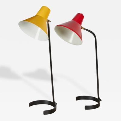 Anvia Two Iron and Steel Desk Lamps by Anvia 1950 s
