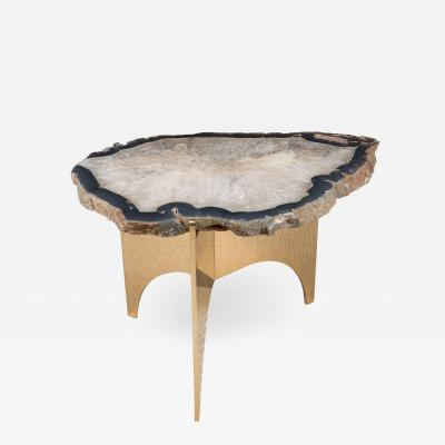 Appel Modern Agate Table with Mirror Polished Bronze Base