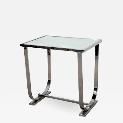 Appel Modern Art Deco Style chrome and mirrored topped occasional table