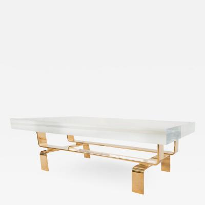 Appel Modern Bronze cocktail table with rectangular lucite top by Appel Modern