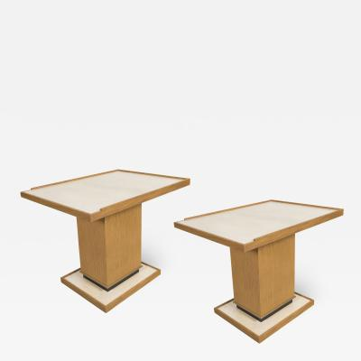 Appel Modern PAIR OF APPEL MODERN CERUSED OAK SIDE TABLES WITH PARCHMENT TOP
