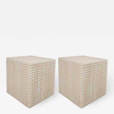 Appel Modern Pair of Fetish side tables in light cerused oak