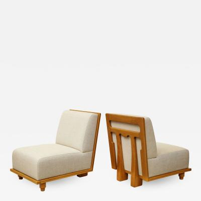 Appel Modern Pair of French inspired slipper chairs with detailed back by Appel Modern