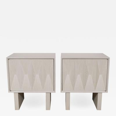 Appel Modern Pair of sculpted front night stands in light cerused oak by Appel Modern