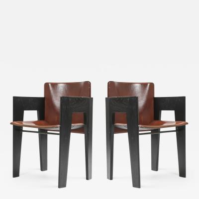 Arco Black Oak and Brown Leather Arco Chairs 1980s