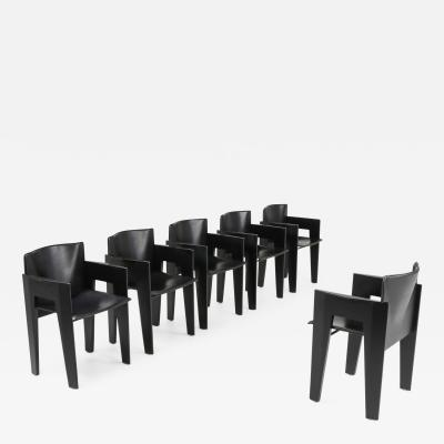 Arco Black Oak and Leather Arco Dining Chairs 1980s