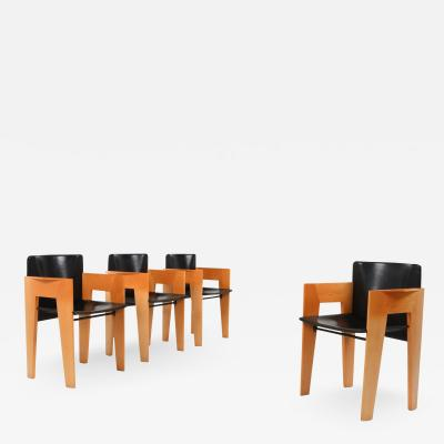 Arco Post modern Sculptural Leather Wood Chairs By Arco 1980s