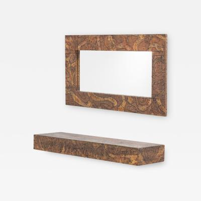 Arenson Studios An Embossed Patinated Aluminium Mirror and Shelf by Arenson