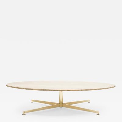 Arflex First Arflex Edition by Michel Kin Elliptical travertine brass Coffee Table 1960