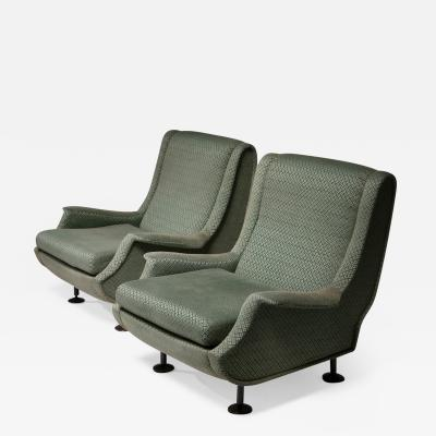 Arflex Pair of Regent Lounge Chairs by Marco Zanuso for Arflex