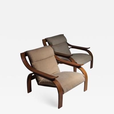 Arflex Pair of Woodline Lounge Chairs by Marco Zanuso for Arflex