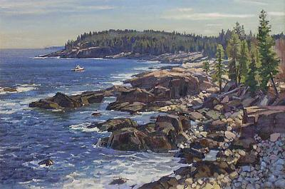 Argosy Gallery T M Nicholas Classic View to Otter CLiffs 20 x 30 in oil on canvas