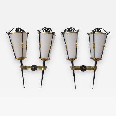Arlus Pair of Lantern Wall Sconces by Arlus France 1950