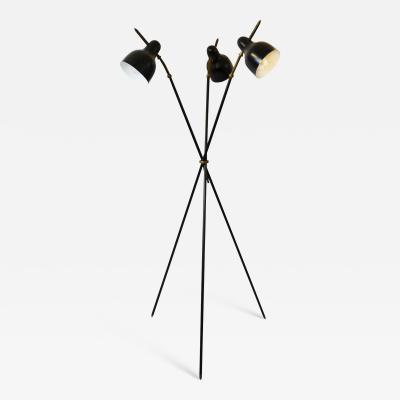 Arredoluce 20th Century Floor Lamp by Arredoluce with three Adjustable Diffusers in Brass