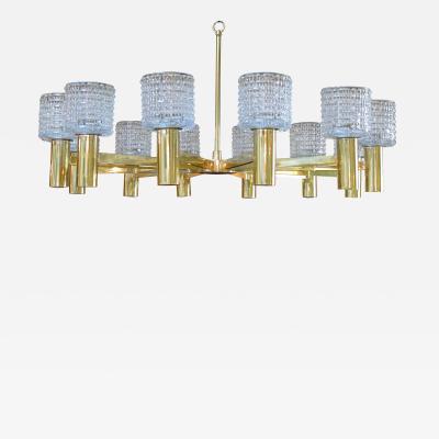 Arredoluce A Large Scale Italian Brass 12 Light Chandelier by Arredoluce Monza