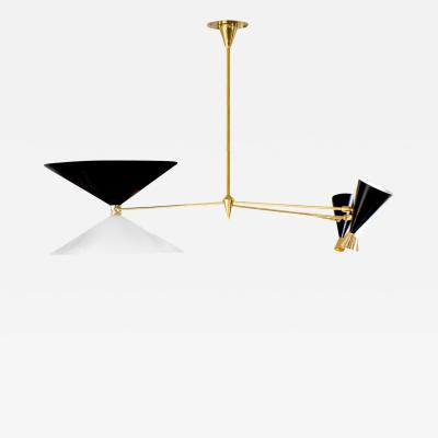 Arredoluce Arredolce Chandelier in Polished Brass with Conical Shades 1953