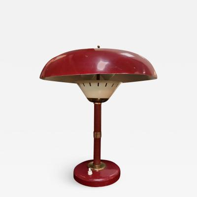 Arredoluce Arredoluce Attributed Table Lamp White Original Red Leather Italy 1950s
