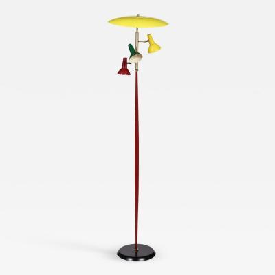 Arredoluce Arredoluce Midcentury Colored Metal and Brass Italian Floor Lamp 1950s