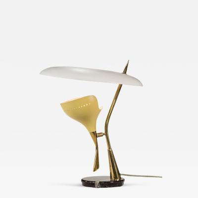 Arredoluce Attributed An Italian Painted Metal Marble and Brass Table Lamp