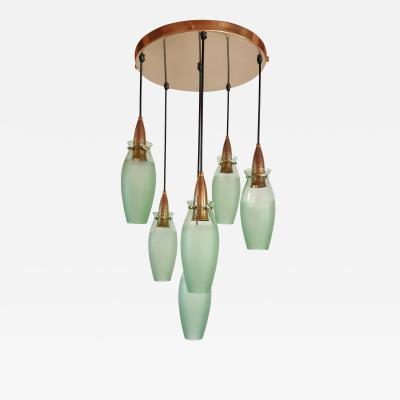 Arredoluce Brass glass Italian Mid Century Modern flush mount Arredoluce style