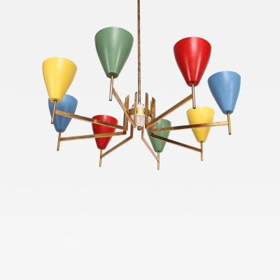 Arredoluce Festive Italian Multi Colored Modernist Chandelier Arredoluce 1950s
