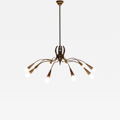 Arredoluce Grand 1950s Italian Spider Chandelier in Brass