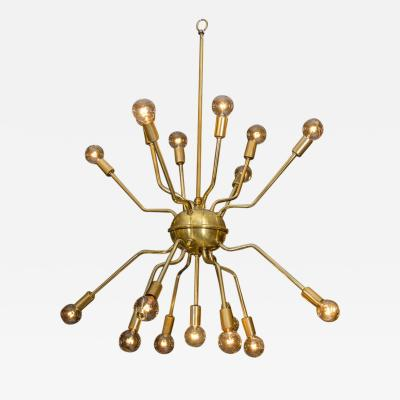 Arredoluce Italian Brass Spider Sputnik Chandelier Pendant Attributed to Arredoluce
