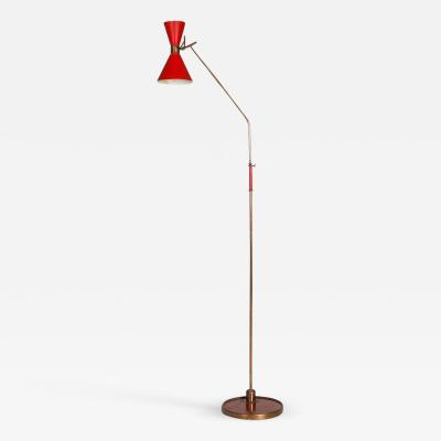 Arredoluce Italian floorlamp with a red shade 1950s
