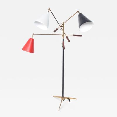 Arredoluce Mid Century Modern Early Triennale Floor Lamp Brass Brown Leather ITALY