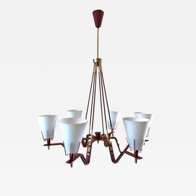 Arredoluce Red Metal and Opaline Glass Ceiling Light