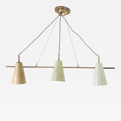 Arredoluce Triple Pendant Cone Shade Chandelier Attributed to Arredoluce