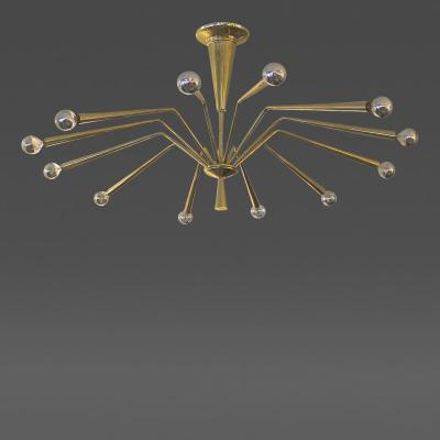 Arredoluce Twelve Arm Brass Chandelier Possibly by Arredoluce Italy 1950s