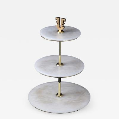 Arriau Cake Stand in Alabaster an Brass KLE by Arriau