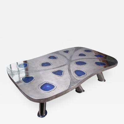 Arriau Coffee Table Lunar Etched Metal Fractal Resin by Arriau
