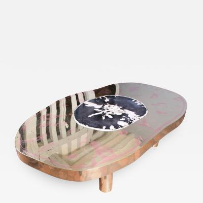Arriau Coffee Table Petrus Black Petrified Wood and Etched Brass by Arriau